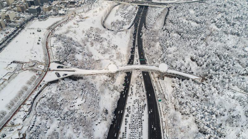 پل طبیعت در یک روز برفی